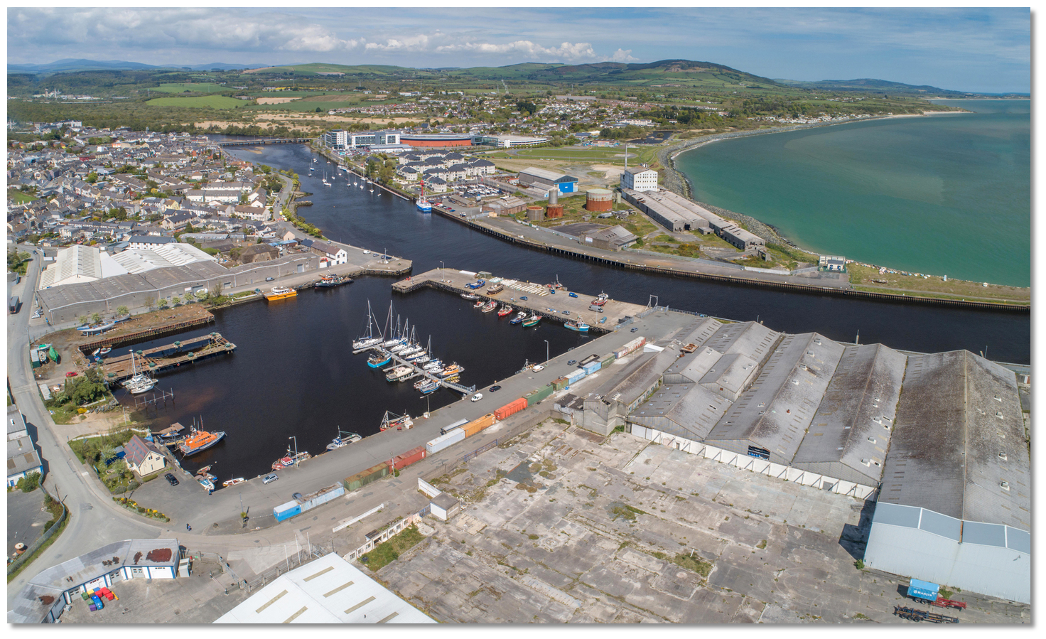 Photo:The Fish Habour basin with the Arklow Marina in the Background